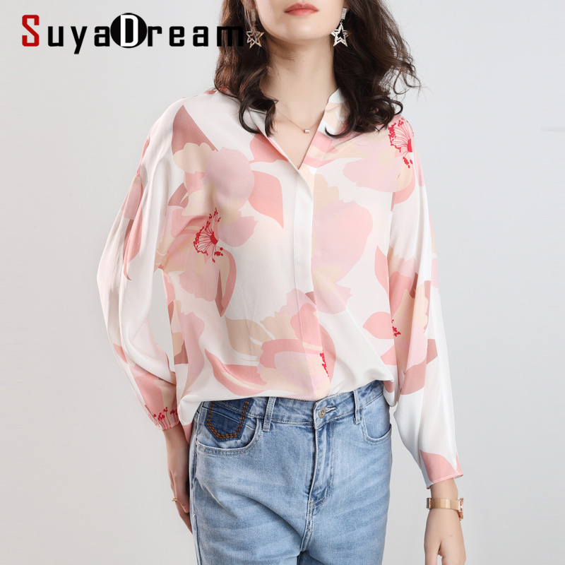 SuyaDream Women Floral Printed Blouses 100%Silk Crepe Bat Sleeved Loose Blouse SHIRT 2020 Spring Summer Elegant Top