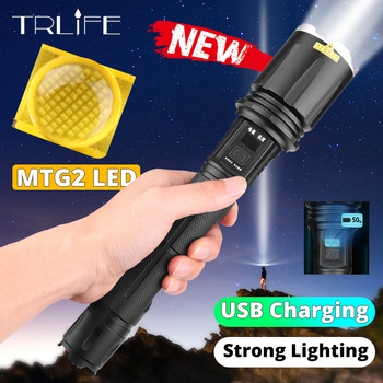 New LED Flashlight USB Rechargeable MTG2 LED Zoomable Light Camping Waterproof Safety Hammer Light Super Bright Camping Light