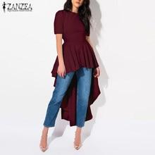 ZANZEA lato z krótkim rękawem wysoki niski koszula zasznurować długie topy moda kobiety asymetryczna bluzka stałe tylny suwak Blusas Vestido Robe