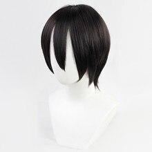 Mikasa ackerman ataque em titan cosplay traje resistente ao calor sintético curto cabelo preto + peruca livre boné