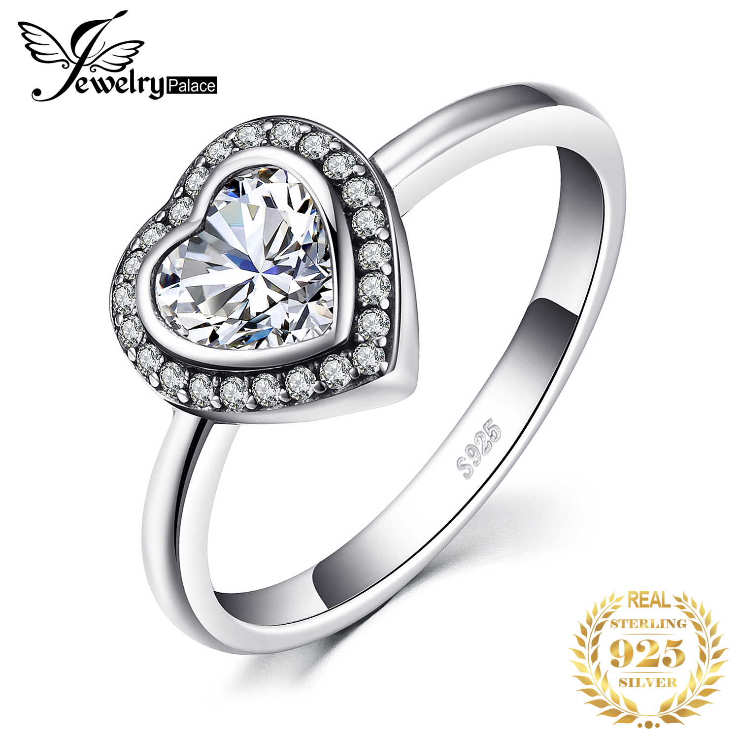 Jewelrypalace 925 Sterling Silver Rings Love Heart Cubic Zirconia Engagement Ring Promise Bridal Jewelry Anniversary Gifts