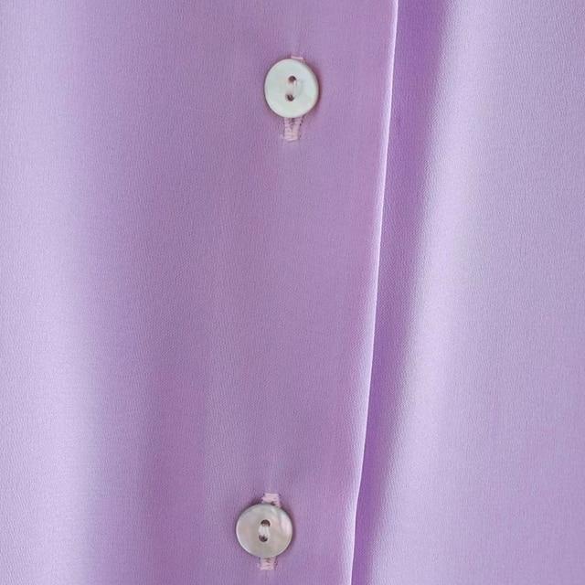 2020 New Fashion Silk Solid color Women Blouses Long Sleeve Turn-down Collar Chiffon Blouse Shirt Casual Tops Loose Work Shirt 5
