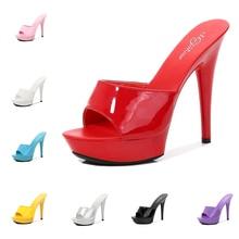 Shoes Women Slipper Summer Fine Heel 13cm Slipper Female Waterproof Slides Sandal Platform Bottom Sexy Shoes Stripper Pumps New