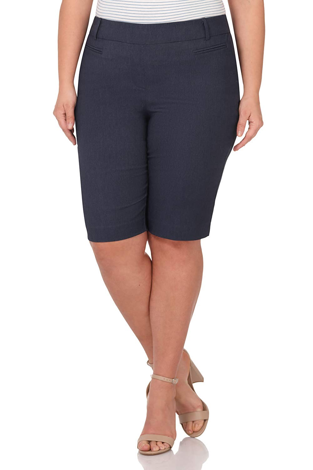 Women's Ease In To Comfort Curvy Fit Plus Size Modern City Short Cotton  Button Fly  Skinny 26 Pieces
