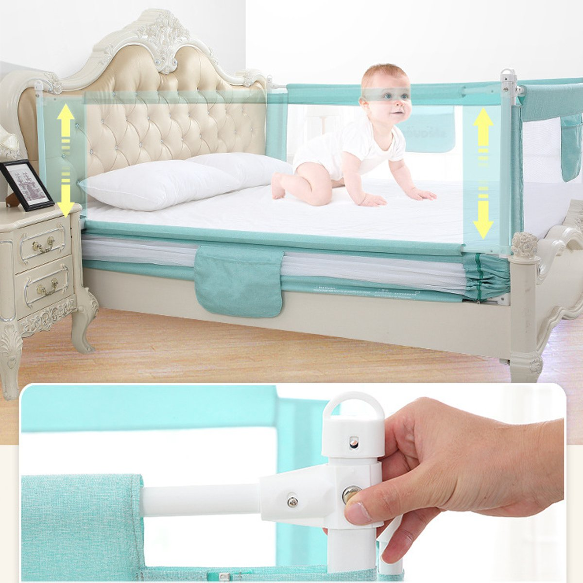2M Baby Bed Fence for Child Safety used as Baby Gate from Falling Accidentally while Sleeping or Playing 18
