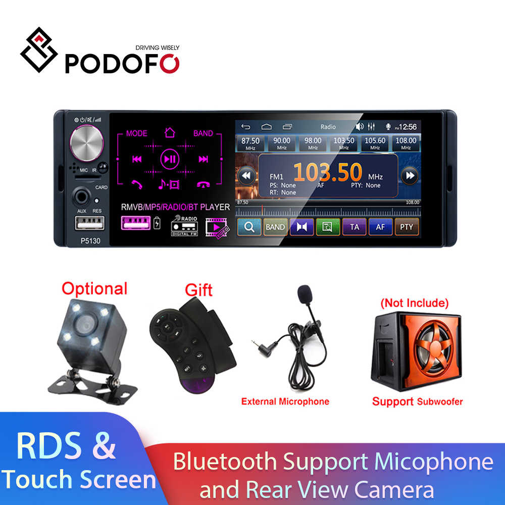 "Podofo Rds Auto Radio 4.1 ""Touch Screen Multimedia MP5 Speler Auto Stereo Radio Bluetooth Ondersteuning Micophone En Achteruitrijcamera camera"