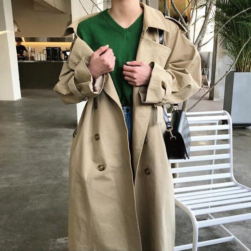 Women Autumn Long Sleeve Double Breasted Long Trench Coat Female Pocket Straight Windbreaker Femme Khaki Beige Overcoat