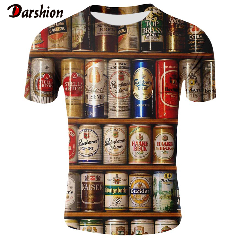 Hip Hop Unique T-shirt Boy's T-Shirts Popular Men's Shirts Uniquely Designed Print Beer Bottle Summer Clothing Top