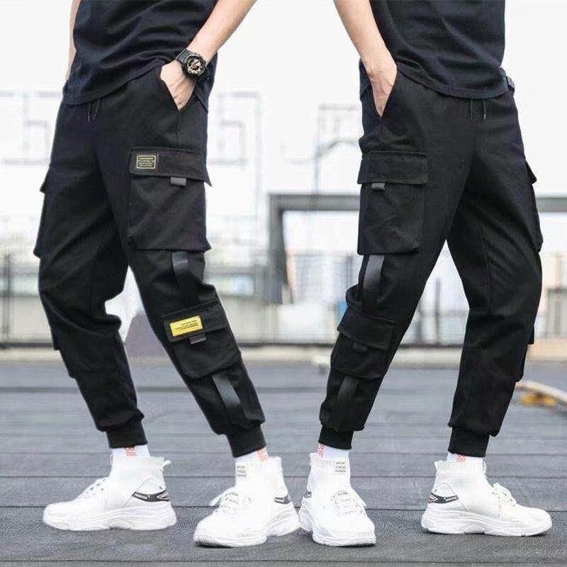 Ribbons Harem Joggers Men Cargo Pants Streetwear 2020 Hip Hop Casual Pockets Track Pants Male Harajuku Fashion Trousers 3