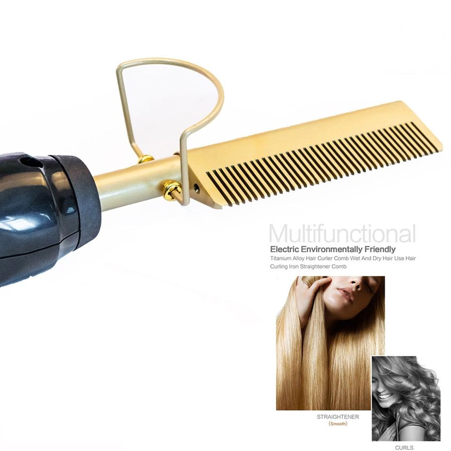 Выпрямитель электрический 2 в 1, выпрямитель для волос, завивка, влажное и сухое использование, Утюги, нагревательная расческа 3