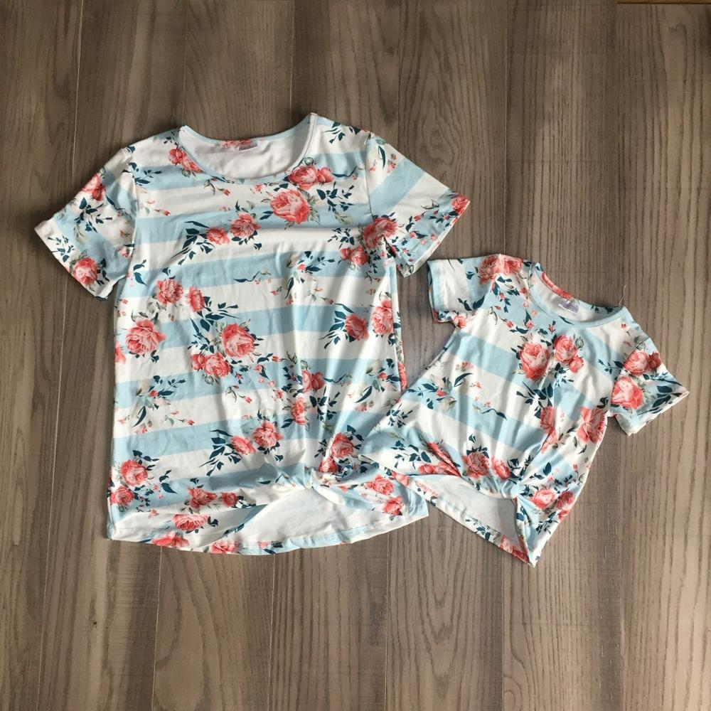 Mommy and daughter T-shirts girls stripe shirt with floral print mommy me top 1