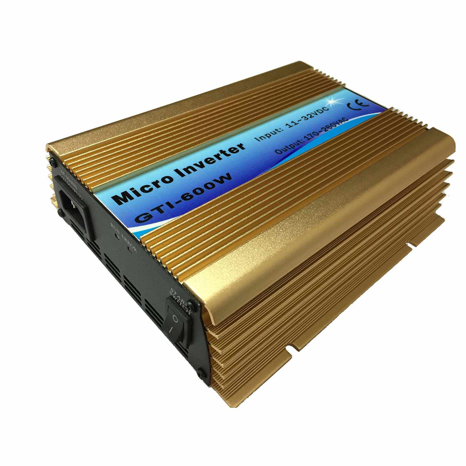 600W רשת עניבה מהפך 600W MPPT טהור סינוס גל מהפך DC18V או 24V/36V כדי AC110V או 230V שימוש עבור פנל סולארי CE זהב צבע