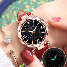 Fashion New Watch Women 2020 Luminous Hands Starry Sky Dot Roman Scale Ladies Watches Polygonal Case Frosted Belt Female Clock