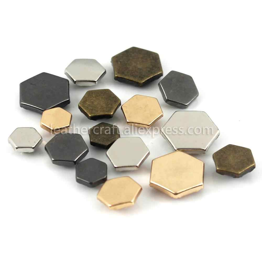 100 Sets Metalen Hexagon Enkele Cap Klinknagels Studs Sluiting Lederen Craft Bag Kleding Kleding Schoenen Decor