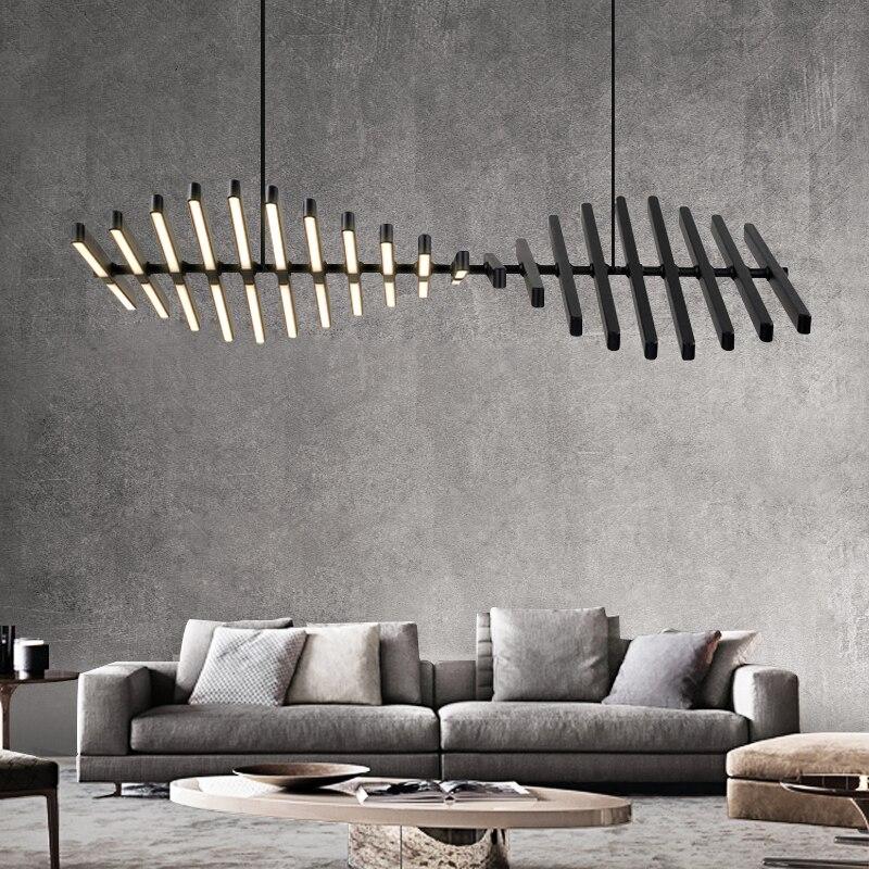 Nowoczesne oświetlenie ledowe żyrandol nordycka czerń/biel biurowe lampy wiszące salon domu światła wiszące jadalnia Bar oprawy