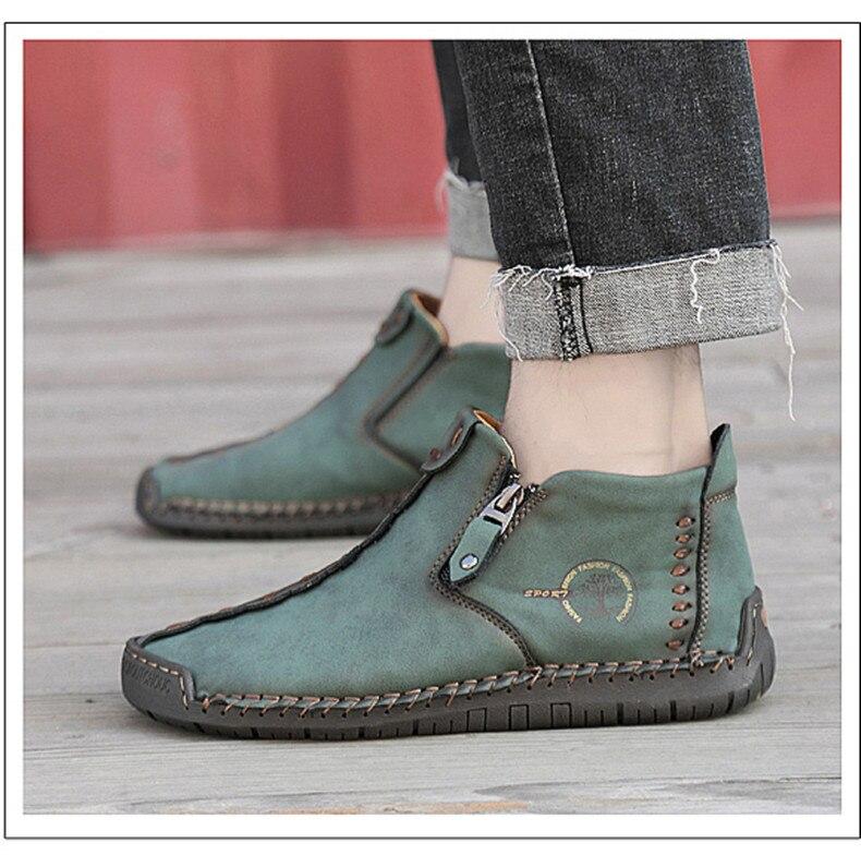 Botas de tornozelo masculinas de couro artesanal