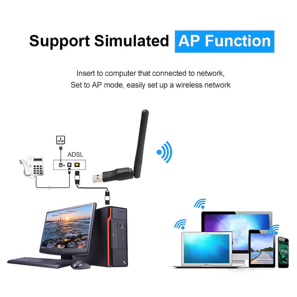 Kebidu Mini WIFI USB Adapter MT7601 150Mbps USB 2.0 WiFi Drahtlose Netzwerk Karte 802,11 b/g/n LAN adapter mit drehbare Antenne