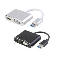 Adaptador VGA 3,0 P HD compatible con USB 1080 a HDMI, convertidor de concentrador 2 en 1 de Instalación sencilla para proyector de Mac OS