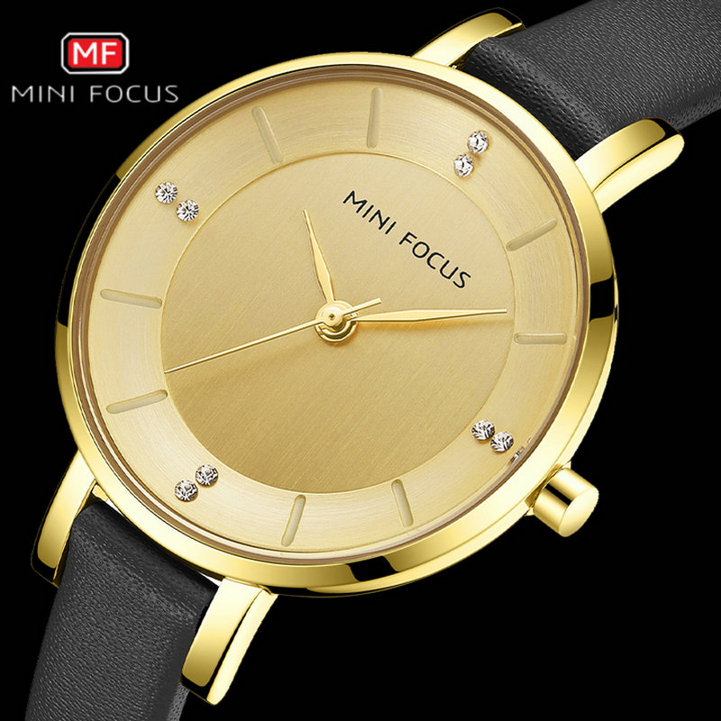 MINIFOCUS Top Luxury Brand Simple Quartz Watch Ladys Royal Diamond Gold Case Design Classic Black Genuine Leather Bracelet Clock