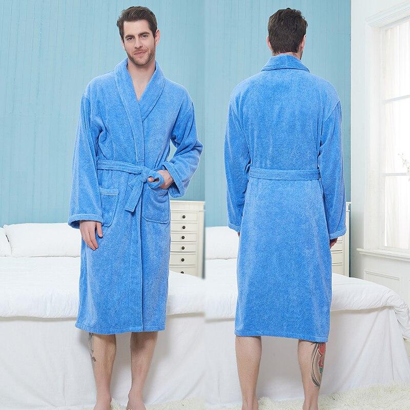 Men Bathrobe Cotton Long Towel Fleece Bathrobe Kimono Warm Thick Bath Robe Men Cozy Robes Night Sleepwear Brides Dressing Gown