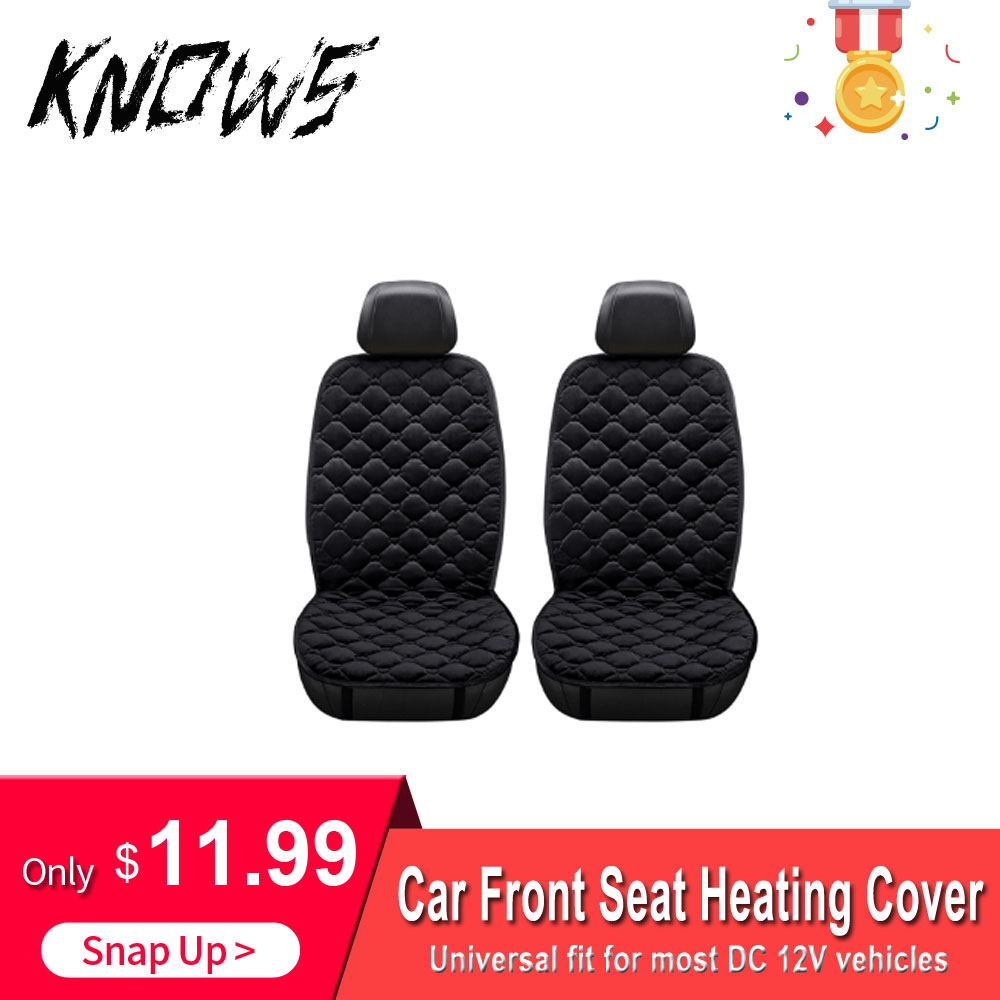 2in1 12V Car Heated Seats Cushion Electric Heating Cover Fast Warm Protection Cold Winter Heater Autos Front Seat Universal