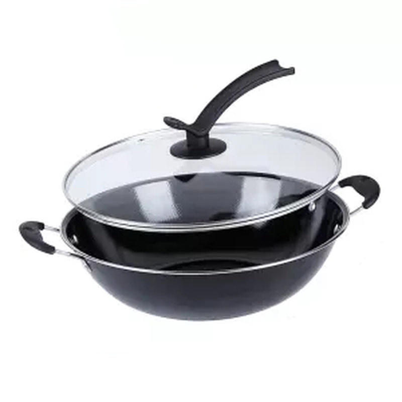 Uncoated Enamel Non-Stick Induction Wok Pan 1