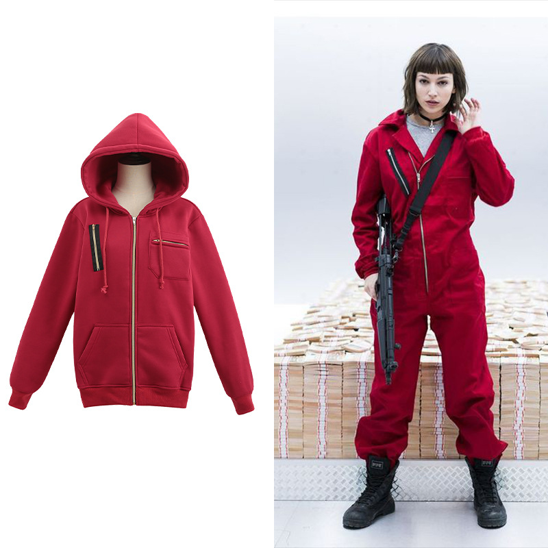 Festival Party Daily Clothing Film And Television Paper House Cosplay Service Dali Sweater Hoodie Red JacketS-XXL