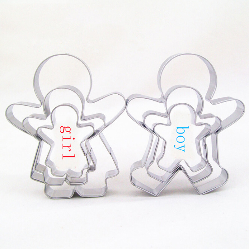 Creative Hot Sale Cookie Cutter Metal 3 Pcs Boy Girl Suit Stainless Steel Cookies Cutter Mold Cake Rice Molded Gingerbread Man