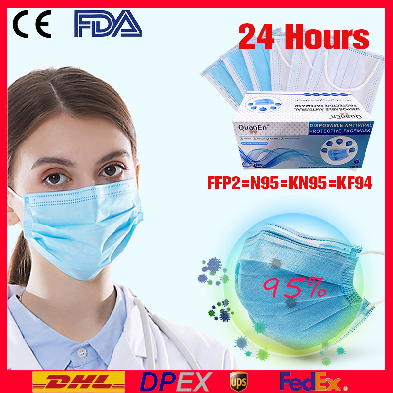 N95 FPP3 Mouth Face Masks Filter Disposable Mask 3 Layer Pollution Protect Anti Dust Non Woven Mask Earloop Proof Flu Face Masks
