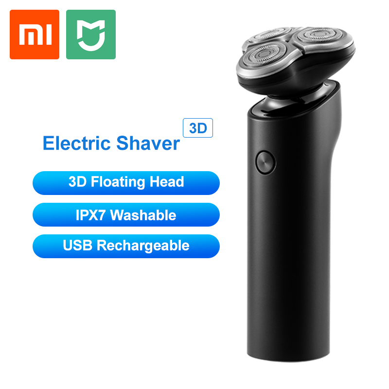 Xiaomi Mijia Electric Shaver Men Razor Beard Trimmer 3 Head Flex Dry Wet Washable Main Sub Dual Blade Turbo+ Mode Comfy Clean