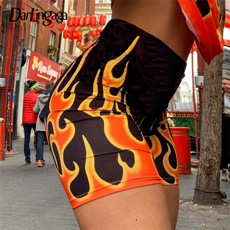 Darlingaga Streetwear Flame Printed Biker Shorts Festival Skinny Fire High Waist Women's Shorts Fashion Short Gym Clothing 2019