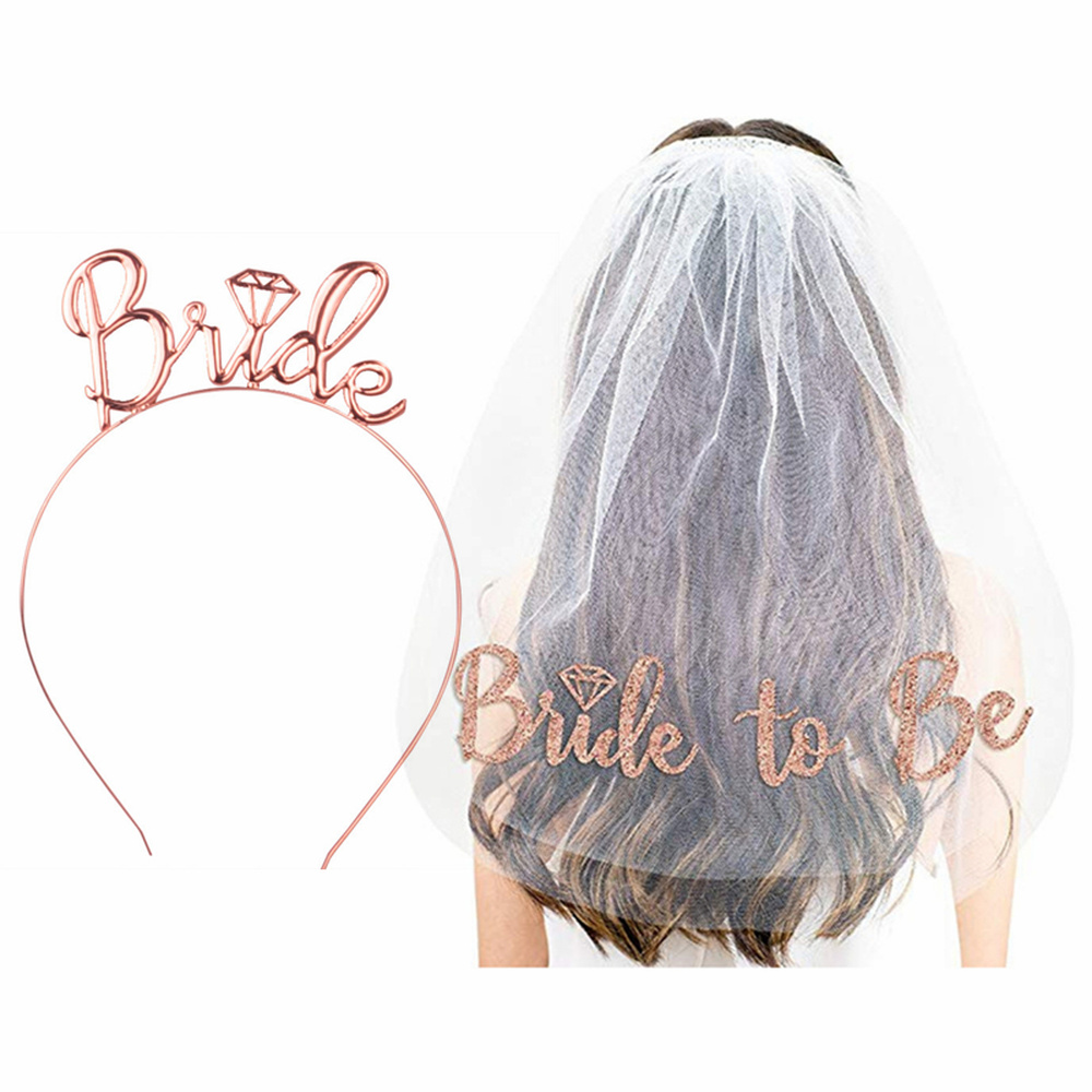 Bachelorette Party Supplies Crown Headband Veil Bride To Be Gilded Bride For Valentines Hen Party Night Wedding Bridal Shower