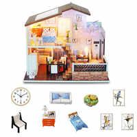 Casa de muñecas modelo DIY casa de muñecas de madera casa de muñecas miniatura muebles chico Regalo de Cumpleaños niños amor regalo juguetes para niños