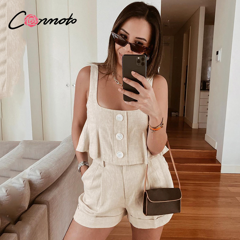 Conmoto Beach Summer Casual Rompers 2 Pieces Women Solid Button Short Romper Suits High Fashion Femme Pocket Romper Suits