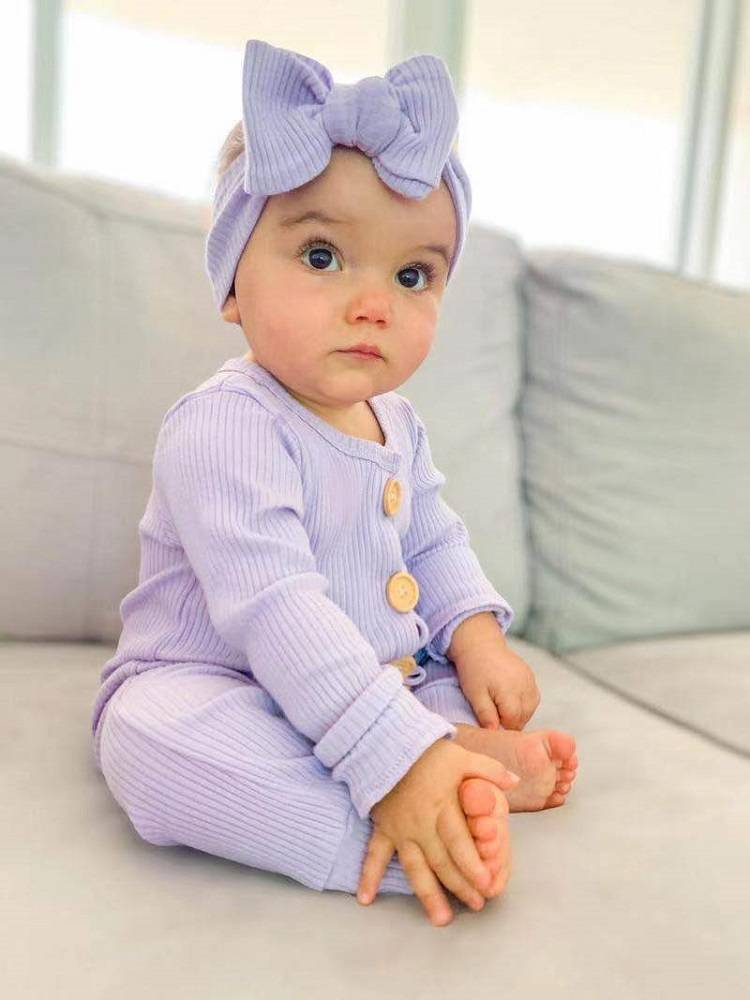 Newborn Baby Boy Girl Long Sleeve Romper Solid Jumpsuit Clothes Autumn Spring Outfits