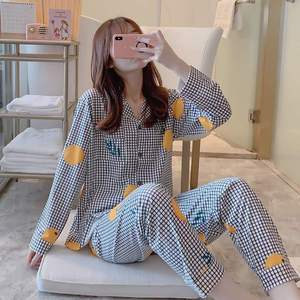 Image 2 - Caiyier Herfst Winter Pyjama Set Leuke Gele Eend Print Oorzakelijk Nachtkleding Mooie Meisje Lange Mouwen Koreaanse Nachtjapon Dames Homewe