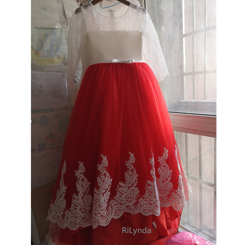 Red Flower Girl Dress Bow Lace First Communion Dresses For Girls Elegant Sleeveless Sequined Christmas Ball Gowns