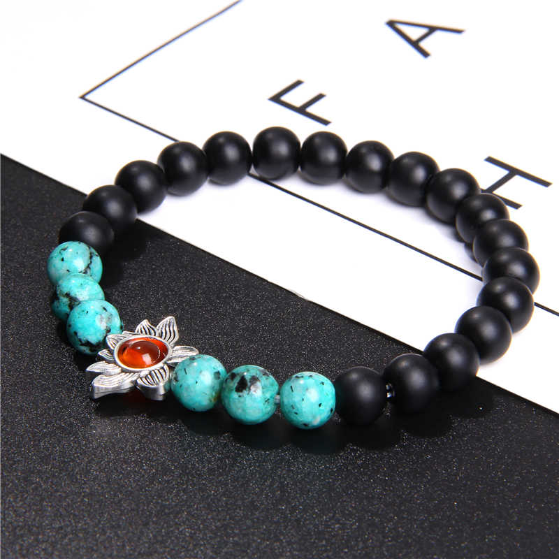 Natural Aquamarines Quartzs Bracelets Women Buddha Red Beads Silver Lotus Charm Bracelet Black Onyx Yoga Prayer Jewelry Bangle