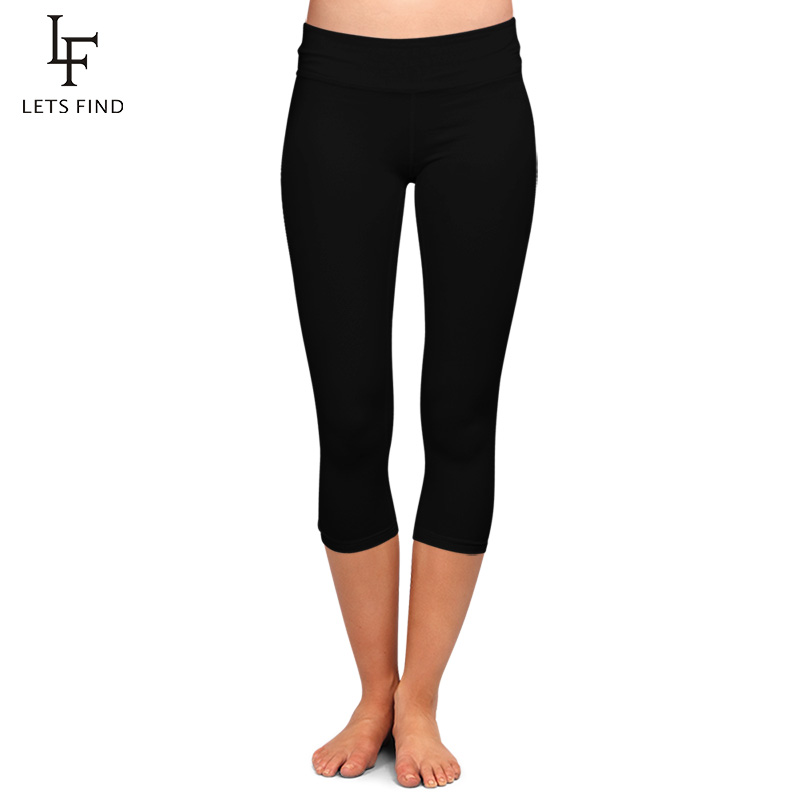 LETSFIND High Quaility Milk Silk Women High Waist Plus Size Fitness Capri Leggings Solid Black Elastic Soft Slim Mid-Calf Pants
