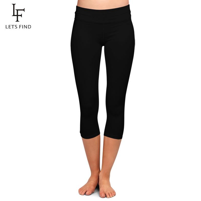 LETSFIND High Quaility Milk Silk Women High Waist Plus Size Fitness Capri Leggings Solid Black Elastic Soft Slim Mid-Calf Pants