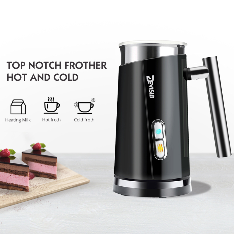 DEVISIB 3 in 1 Milk Frother Electric Steamer for Making Latte Cappuccino Automatic Warmer Coffee Foamer Heater Hot Cold
