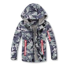 Boys' waterproof and breathable hunting outdoor rain fleece jacket with cap zipper coat winter kids windbreaker clothes autumn(China)