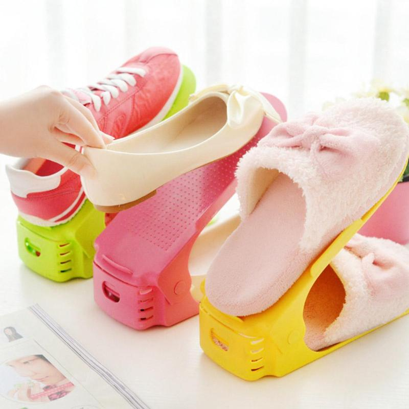 Double Layer Cleaning Storage Shoe Rack Home Shoes Stand Shelf Organizer Household collection shoe rack appliance 25.5x10x19cm