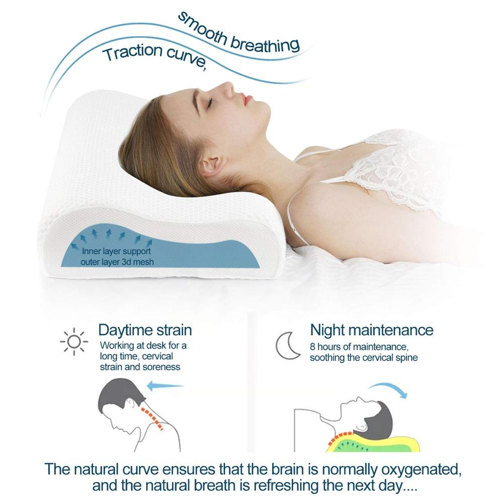 Power Of Nature Memory Foam Contour Pillow, Neck Support Cervical Bed Pillow For Sleeping, Side Sleeper - Relieve Neck Pain With