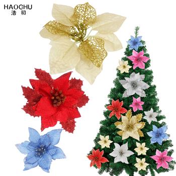10 sztuk partia sztuczne kwiaty dekoracje na boże narodzenie Glitter Hollow kwiat na boże narodzenie drzewo DIY boże narodzenie nowy rok Decor czerwony złoty tanie i dobre opinie HAOCHU XM-10PCS Tak ( 50 sztuk) Bez pudełka 13cm 17cm 20cm Christmas tree decoration