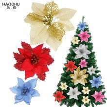 Fleurs artificielles à paillettes pour noël, 10/lot, fleur creuse à paillettes, pour arbre de noël, pour décoration du nouvel an, rouge ou or