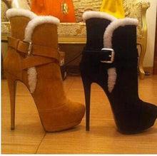 LAIGZEM – bottines en Faux daim à talons hauts pour femme, chaussures chaudes d'hiver, grande taille 47 50 51 52