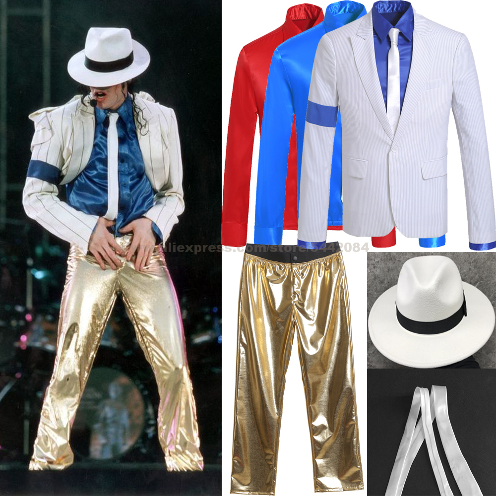 MJ Michael Jackson Coat Pants Shirt Cap Smooth Criminal Stripe Suit Jacket Outfit Hallowmas Costume Cosplay Party Prop