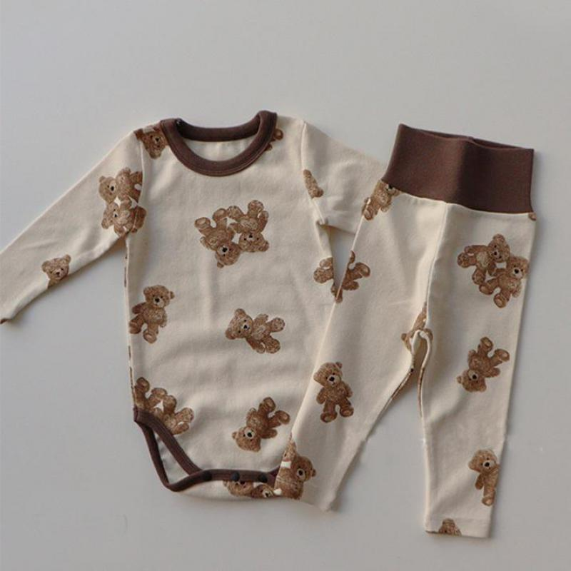 1667.0¥ 52% OFF|Toddler 2021 Spring New Baby Boys Girls Clothes Set Bunny Bear Kids Long Sleeve Bod...