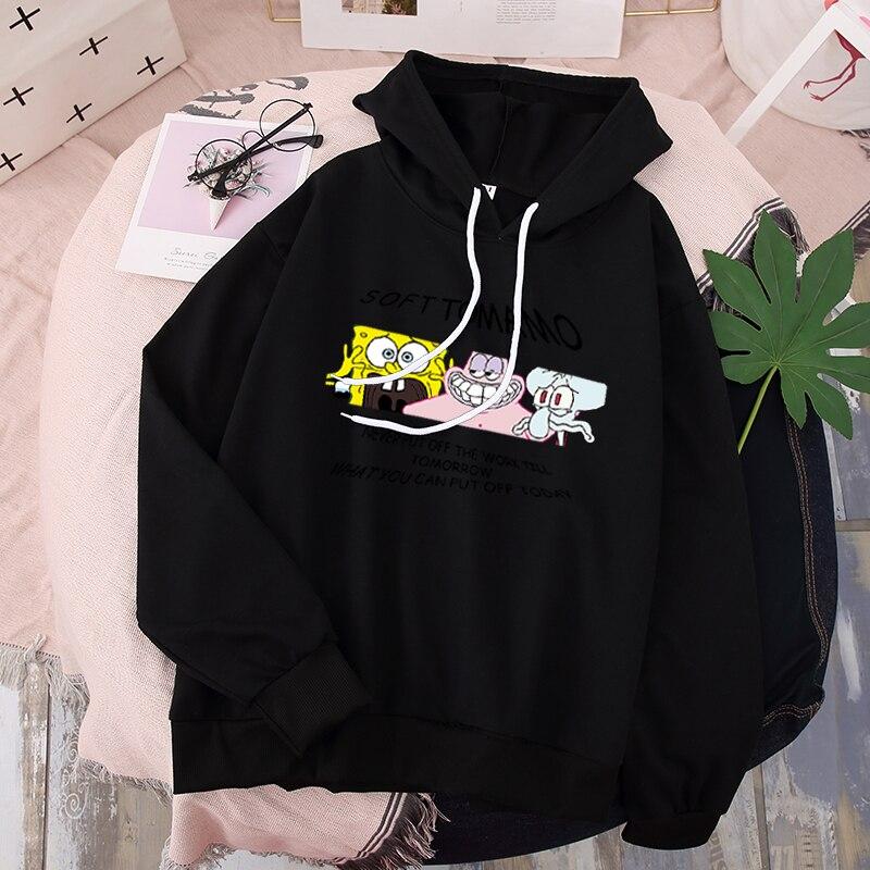 Woman 35%Cotton Cartoon Cute Black Hoodie Harajuku SpongeBob Kawaii Aesthetic Sweatshirt With Hat